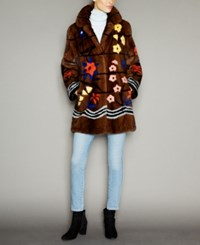 The Fur Vault Floral Print Mink Coat Brown Multi