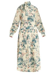 Stella Jean Ottusa Waterlily Print Silk Maxi Dress Cream Multi