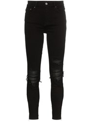 Amiri Distressed Detail Ribbed Knee Skinny Jeans Black