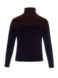 J.W.Anderson Bi Colour Roll Neck Velvet Knit Sweater