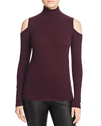 Bloomingdale's C By Cold Shoulder Cashmere Turtleneck 100 Exclusive Eggplant