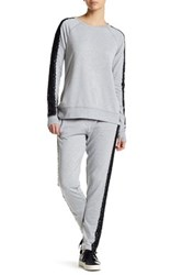Nanette Lepore Lace Track Ankle Pant Gray