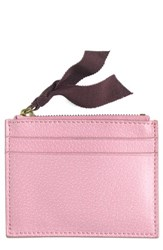 J.Crew Small Leather Zip Wallet Pink Bright Flamingo