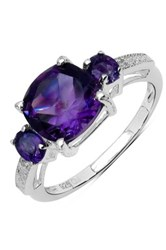 Olivia Leone Sterling Silver Cushion Oval Amethyst And White Topaz Ring Purple