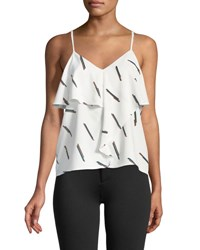 Evidnt Ruffle Front Printed Camisole Ivory