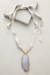 Anthropologie Agate Pendant Necklace Light Grey