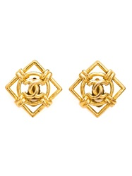 Chanel Vintage Diamond Shape Logo Earrings Metallic