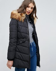 Only Sanna Long Quilted Jacket With Faux Fur Trim Black