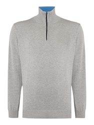 Oscar Jacobson Brando Half Zip Jumper Grey
