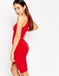 Asos Asymmetric Bodycon Dress With High Neck Red