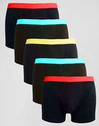 Asos Trunks With Bright Waistbands 5 Pack Black