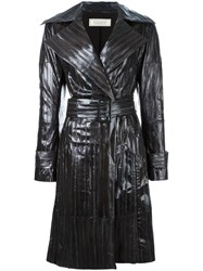 Nina Ricci Stitched Detail Leather Coat Grey