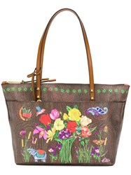 Etro Floral Tote Bag Brown
