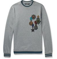 Dolce And Gabbana Contrast Tipped Printed Loopback Cotton Jersey Sweatshirt Gray