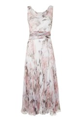 Topshop Vintage Silk Godet Midi Dress Pink