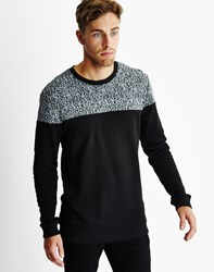 Only And Sons Mens Melange Crew Neck Sweatshirt With Cut And Sew Details Black