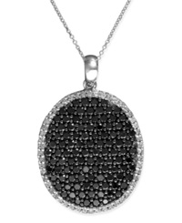 Effy Collection Caviar By Effy Black And White Diamond Oval Pendant 2 1 5 Ct. T.W. In 14K White Gold