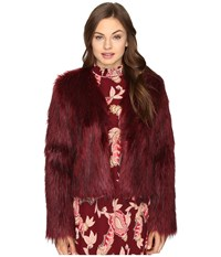 Show Me Your Mumu One Oak Crop Ruby Red Faux Fur Women's Clothing
