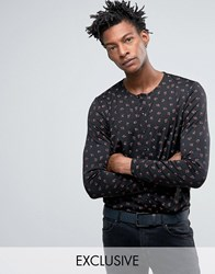 Reclaimed Vintage Inspired X Romeo And Juliet Slim Fit Collarless Shirt In Black With Rose Print Black