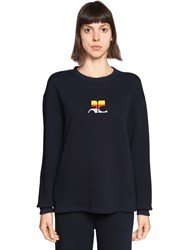 Courreges Logo Embroidered Cotton Sweater Blue