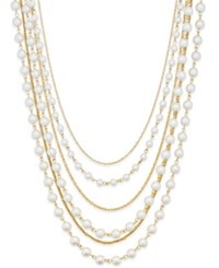 Charter Club Gold Tone Imitation Pearl Six Strand Layer Necklace Only At Macy's
