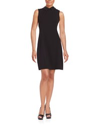 Calvin Klein Faux Leather Trimmed Sheath Dress Black