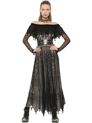 Alexander Mcqueen Off The Shoulder Silk Lace Dress