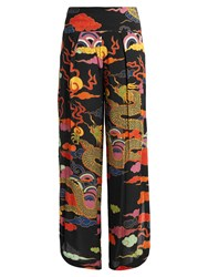Adriana Degreas Dragon Print Wide Leg Crepe Trousers Black