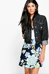 Boohoo Large Floral Full Skater Skirt Navy