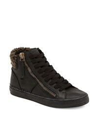 Dolce Vita Zola Leather And Faux Shearling Sneakers Black