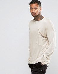 Asos Bamboo Jersey Oversized Long Sleeve T Shirt With Drapey Pocket Tan Brown