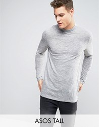Asos Tall Long Sleeve T Shirt In Grey Textured Fabric With Turtle Neck Light Grey