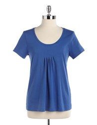 Lord And Taylor Short Sleeved Scoopneck Tee Gulf Coast Blue