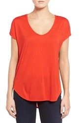 Trouve Women's Relaxed Fit Shirttail Tee Red Fiery