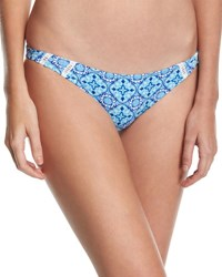 Rhythm My Beach Stitch Inset Cheeky Swim Bottom Blue Pattern