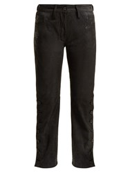 Ann Demeulemeester Distressed Leather Trousers Black