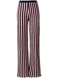 Aviu Striped Wide Leg Trousers Blue
