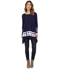 Culture Phit Emma Tie Dye Tunic Navy Women's Blouse