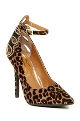 J. Renee Ellusion Leopard Print Ankle Strap Pump Wide Width Available Brown