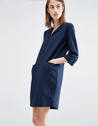 Selected Relaxed Dress With Pockets Dark Sapphire