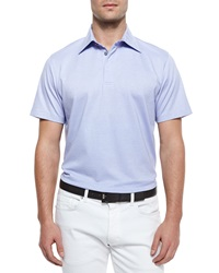Ermenegildo Zegna Short Sleeve Knit Polo Shirt Lilac