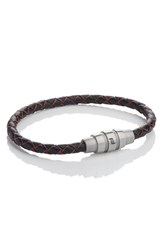 Porsche Design Men's 'Grooves' Leather Bracelet Red Black