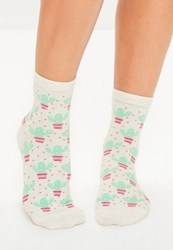 Missguided White Cactus Ankle Socks