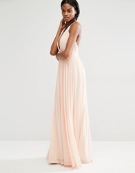 Missguided Pleated Plunge Maxi Dress Nude Beige