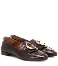 Chloe C Croc Effect Leather Loafers Purple