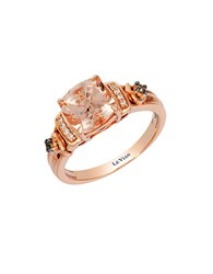 Le Vian 14K Strawberry Gold Peach Morganite Ring With Chocolate And Vanilla Diamonds Morganite Rose Gold