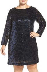 Vince Camuto Plus Size Women's Sequin Long Sleeve Shift Dress