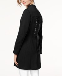 Inc International Concepts I.N.C. Stand Collar Ponte Knit Zip Coat Created For Macy's Black