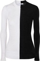 Givenchy Two Tone Ribbed Knit Sweater Black