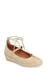 L'amour Des Pieds Women's Bovisio Ghillie Wedge Gold Beige Caviar Leather
